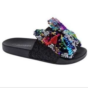 Bow Tie Rainbow Sequins Sparkle Bling Flat Sandals